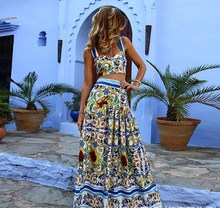 Boho New Women Two Piece Set Sexy Crop Tops and Long Skirt Floral Print Sets Casual Bohemian High Waist Flower Suits