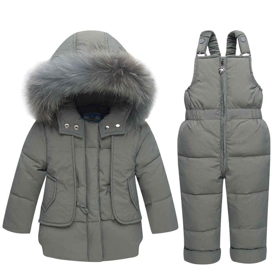 02cb9466f Winter Parka Fur Hooded Boy Baby Girl Duck Down Jacket Warm Kids ...