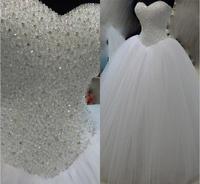 Luxury Lace Up Back White Heavy Beaded Princess Wedding Dress 2015 Tule Ball Gown Bridal Dress
