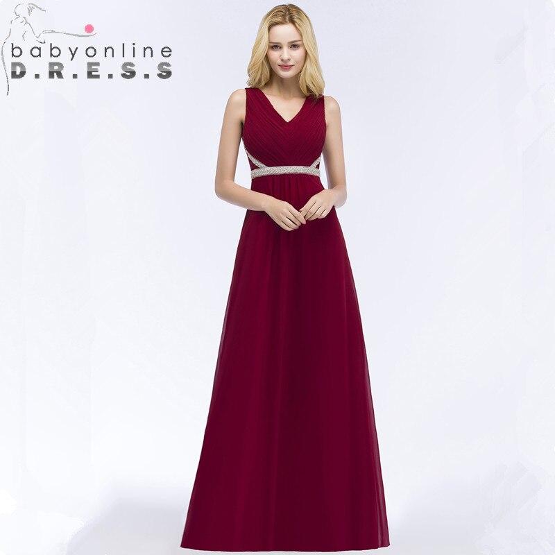 Vestido de Festa Longo Sexy Open Back Burgundy   Prom     Dresses   Long Cheap V Neck Evening Party   Dresses   with Beadings