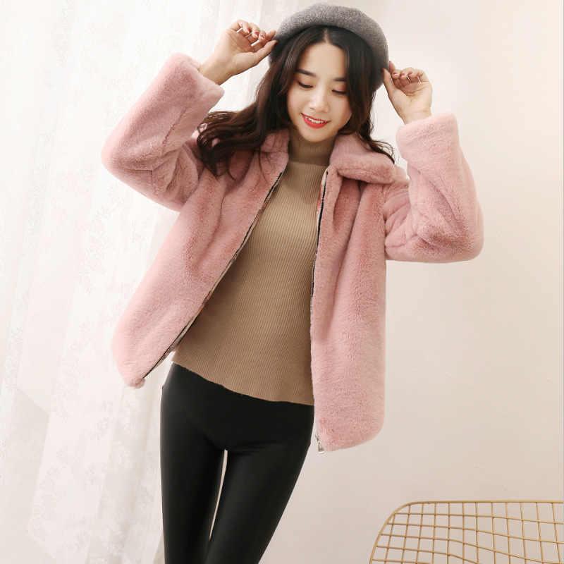 2018 nuevo abrigo de piel de imitación de visón cálido de Invierno para mujer abrigo corto Delgado grueso Chaqueta de felpa abrigo de moda