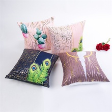 Fuwatacchi Gold Stamping Cushion Covers Bird Throw Pillows Animal Pillow Cover for Home Sofa Chair Decorative Pillowcases 2019 fuwatacchi cute unicorn cushion cover gold stamping throw pillow cover new rainbow christmas decorative pillows for home chair