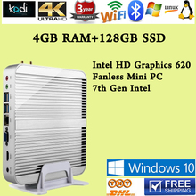 [7th Gen Intel Core i5 7200U]4GB RAM 128GB SSD Win10 Mini PC Max 3.1GHz  Fanless Nuc HTPC Intel HD Graphics 620 4K TV Box