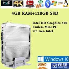 [Седьмого Поколения Intel Core i5 7200U] 4 ГБ RAM 128 ГБ Win10 SSD Mini PC макс 3.1 ГГц Кну Безвентиляторный HTPC Intel HD Graphics 620 4 К TV Box