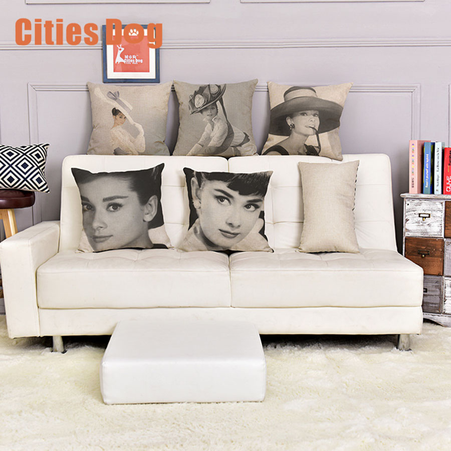 Idol Retro Audrey Hepburn Vintage pattern Printed Cotton Linen Pillowcase Decorative Pillows Cushion Use For Home Car Cojines