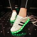 Atacado Homens adultos Moda Sapatos Luminosos Led 2016 de Alta Qualidade Luzes LED de carregamento USB Flash Colorido Amantes Sapatos Casuais Sapatos