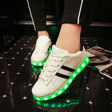 Wholesale Men adult Fashion Led Luminous Shoes 2016 Top Quality LED Lights USB charging Colorful Shoes Lovers Casual Flash Shoes