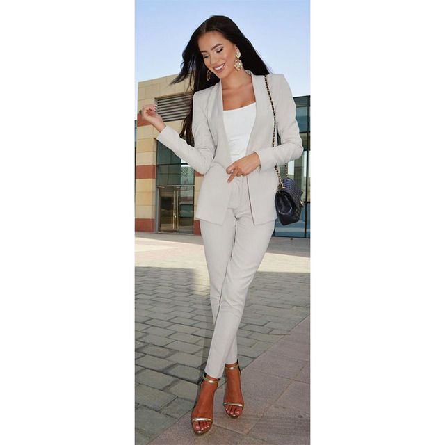 3e0bc7655 Moda elegante mujer Pantalones damas pantalones traje formal hembra traje  chaqueta pantalones smoking por encargo