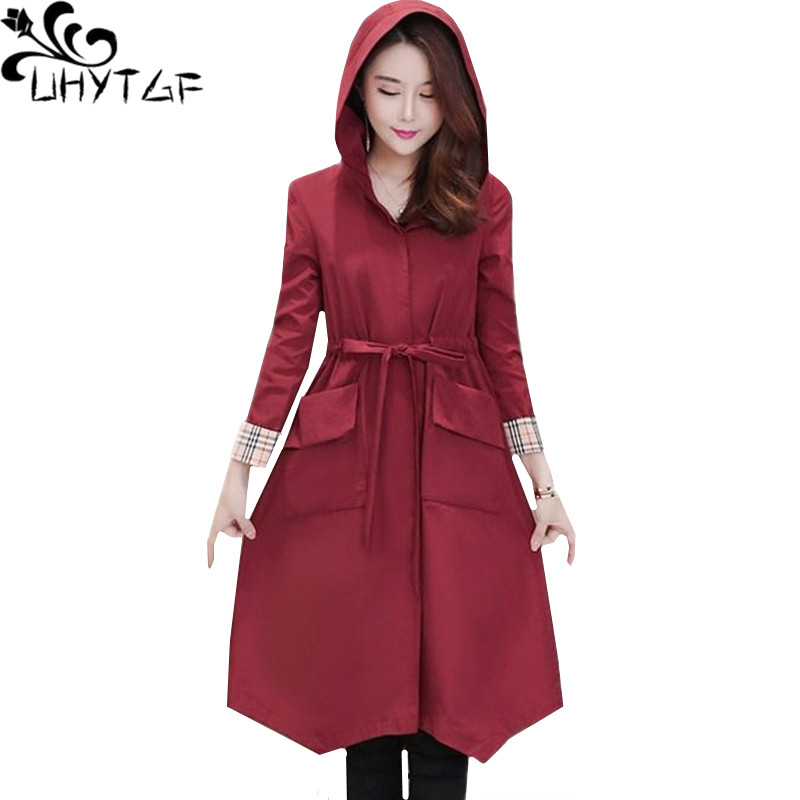 UHYTGF New women coat Fashion hooded spring autumn   trench   coat Lace-up Slim thin top young female casual plus size outerwear 97