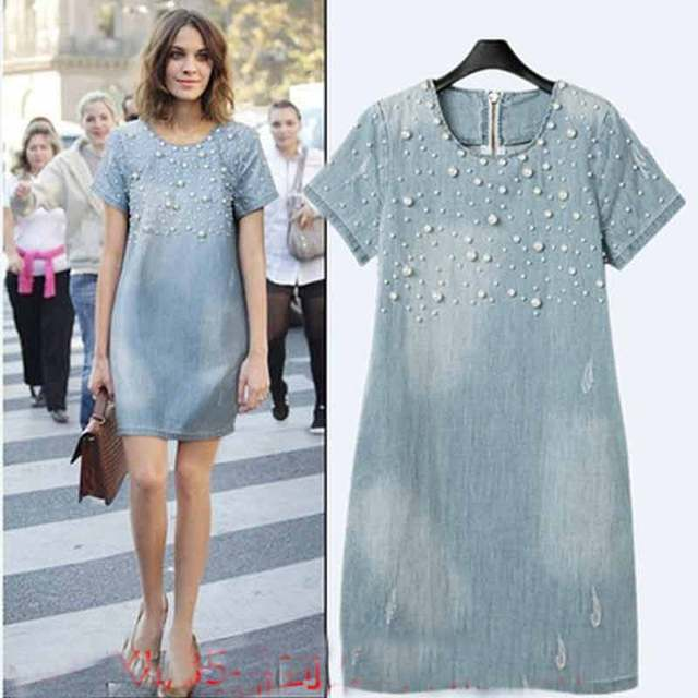 Maternity Dresses New 2016 Women Casual Denim Beaded Loose Short-sleeved Dress For Pregnant Pregnancy Clothes Plus Size YFQ011