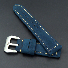 Купить с кэшбэком Fast delivery high quality Leather WatchBand 22mm 24mm Men's Watch Strap For Panerai Omega Seiko Various brands of large watches