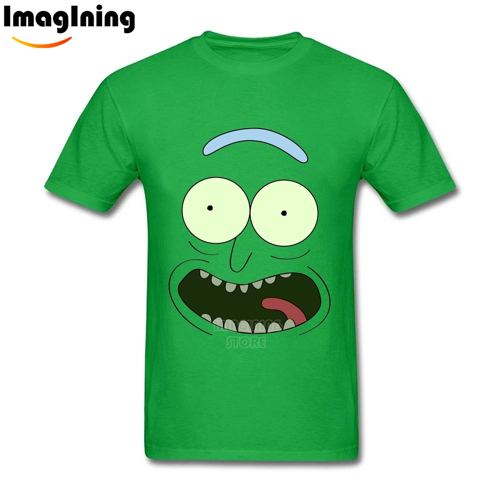 Funny Face Pickle Rick and Morty Unique Men s T shirt Tee Shirts Cotton DIY For