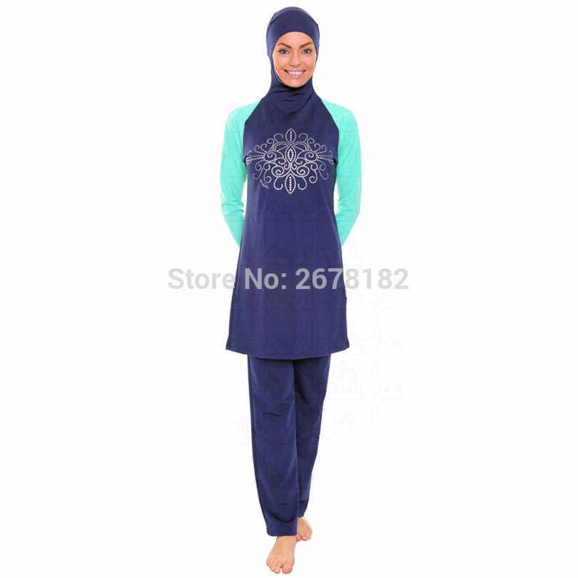 متواضع ملابس سباحة إسلامية الحاجب ملابس السباحة الإسلامي للنساء مايو غطاء كامل المحافظين ملابس سباحة حريمي زائد حجم