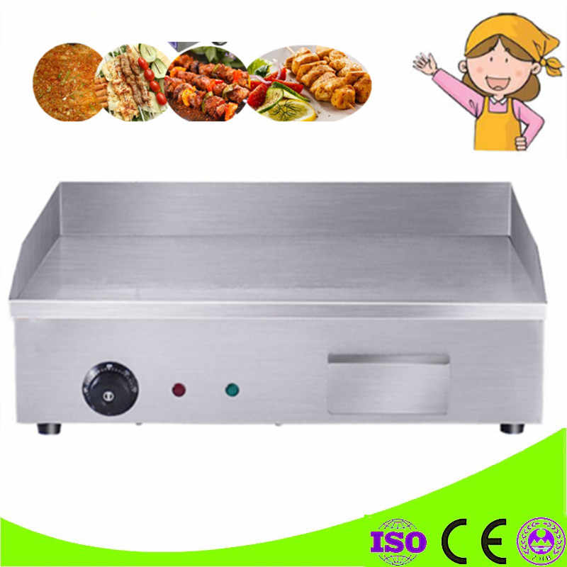 Commercial 3KW Electric Grill Temperature Control Griddle Stainless Steel Electric Flat Plate Griddle Countertop Grillplatte BBQ