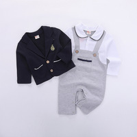 2Pcs Baby Boy Gentleman Suit Newborn Baby Boy Cotton Romper With Blazer Sets Infant Baby Boy Wedding Party Formal Suit 6 18M