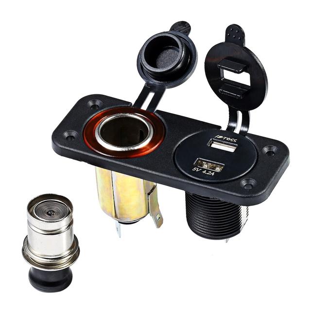12-24 V Painel Duplo Buraco Rodada Dupla USB Ficha de Alimentação Do Veículo de Exibição Voltímetro Isqueiro À Prova D' Água Marinha tomada
