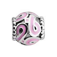 Fits Brand Bracelets Beads For Jewelry Making DIY Sterling Silver JEWELRY Pink Ribbon Bead Charms Kralen