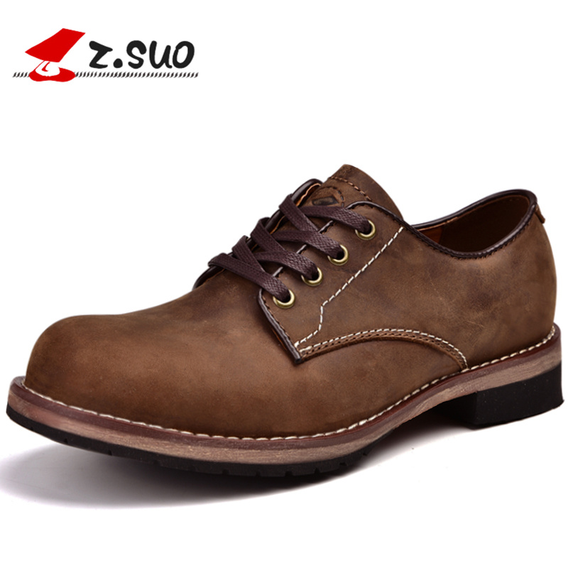 Z.Suo Fashion Spring/Autumn men shoes Genuine Leather shoes Lace-Up Breathable/Comfortable Business Men's Casual Martin Shoes spring autumn new men driving shoes fashion breathable leather casual shoes korean version lace up rubber men shoes z180