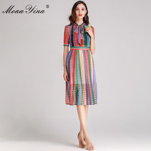 Image 3 - MoaaYina Fashion Designer Runway dress Spring Summer Women Dress Bow collar Short sleeve Colorful Stripe Dresses