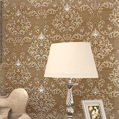 Kristal Berlian Wallpaper Mewah Eropa Berkelompok Non Woven Dekorasi Ruang Tamu Dinding Damask Kertas Kopi Bunga Polisi Di Dari