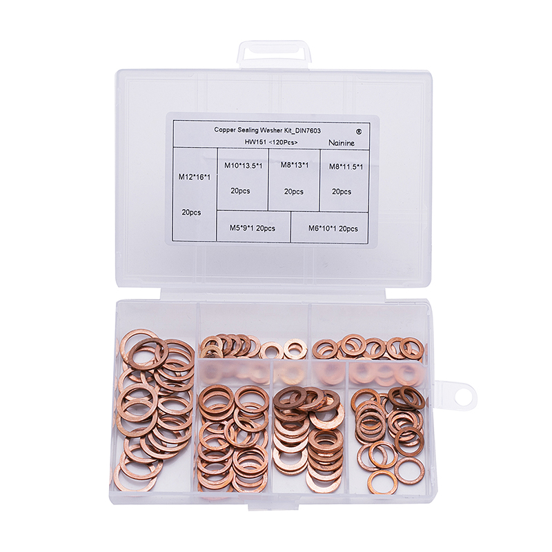 120Pcs/set DIN7603 M5 M6 M8 M10 M12 T3 Copper Sealing Washer For Boat Crush Washer Flat Seal Ring Fitting Kit HW151