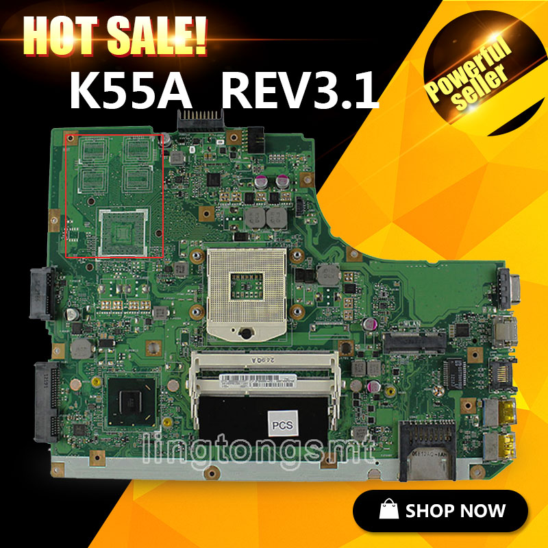 For Asus K55A motherboard K55VD REV3.1 60-N89MB1300-B02 DDR3 SLJ8E HM76 PGA989 mainboard 100% tested ytai k55vd rev 3 1 mianboard for asus k55vd k55a laptop motherboard hm76 integrated graphic card 2 ddr3 usb3 0 mainboard