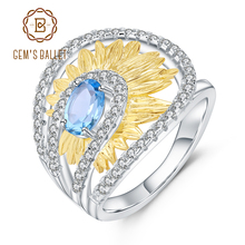 GEMS BALLET 1.00Ct Natural Swiss Blue Topaz Sunflower Rings Fine Jewelry 925 Sterling Silver Handmade Ring for Women Bijoux