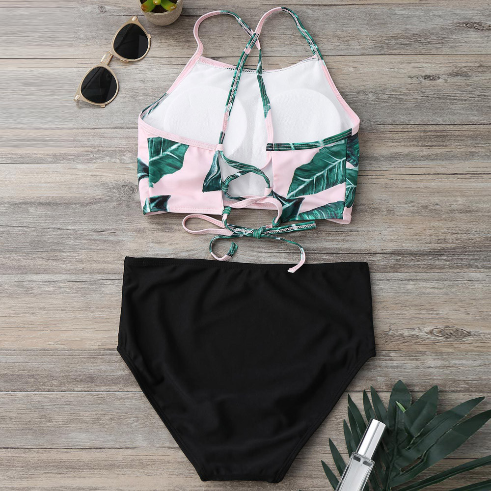 2018 Sexy Women Falbala High-waisted Bikini Set Push-Up Swimsuit Bathing Bikini Set Swimsuit Swimwear New Hot Summer