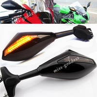 Motorcycle Rearview Mirrors With Turn Signals LED Lights For Honda CBR600 F1 F2 F3 F4 F4I