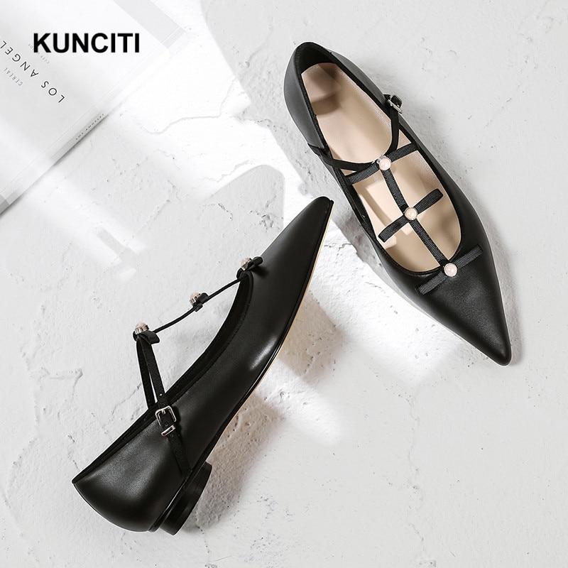 2019 Women Dress Flat Shoes Black Mary Jane Shoes Pointy Toe Women Moccasins Pearl Bead Fashion