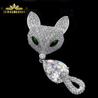 Fantastic Micro Pave CZ Green Eyes Fox Brooches Silver Tone Dangling Pear Shaped Body Curved Tail