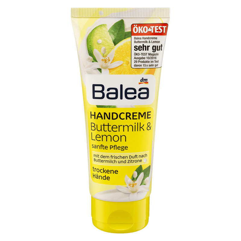 Balea Buttermilk Lemon Hand Care Cream for Very Dry Hand Reduce Dryness Soothes Nourishes Intensive Moisture 24-hour Moisturizer