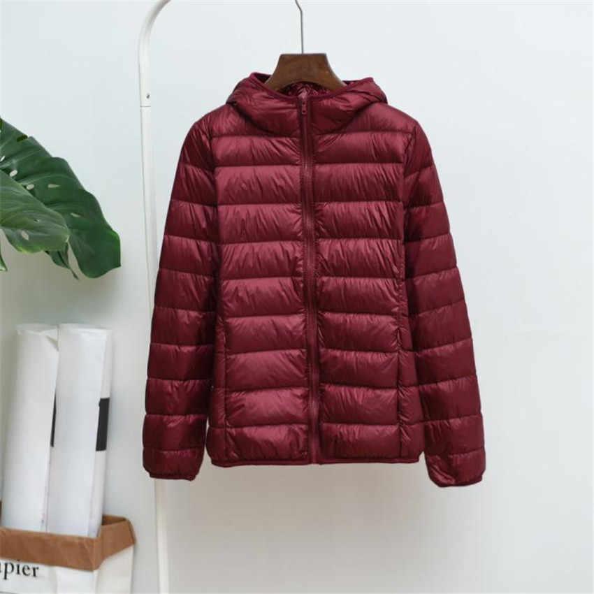 Новые зимние Для женщин свет тонкий белая утка вниз куртка пальто с капюшоном плюс Размеры пуховик миди длинное пуховое пальто женские куртки WZ115