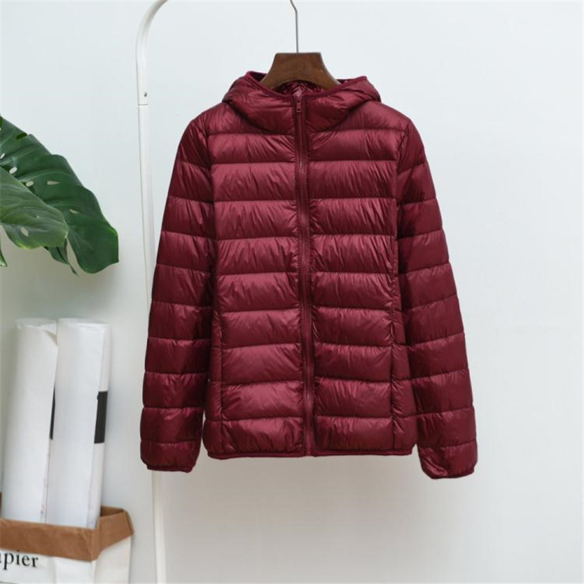 New Winter Women Light Thin White Duck Down Jacket Hooded Coats Plus Size Down Jacket Midi Long Down Coat Female Jackets WZ115