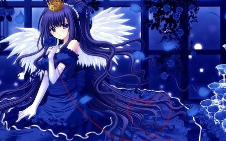Ангелы Крылья платье Цветы голубые глаза Длинные Волосы Лентами розы аниме девочек украшения 4 Размеры украшения дома холст плакат Принт