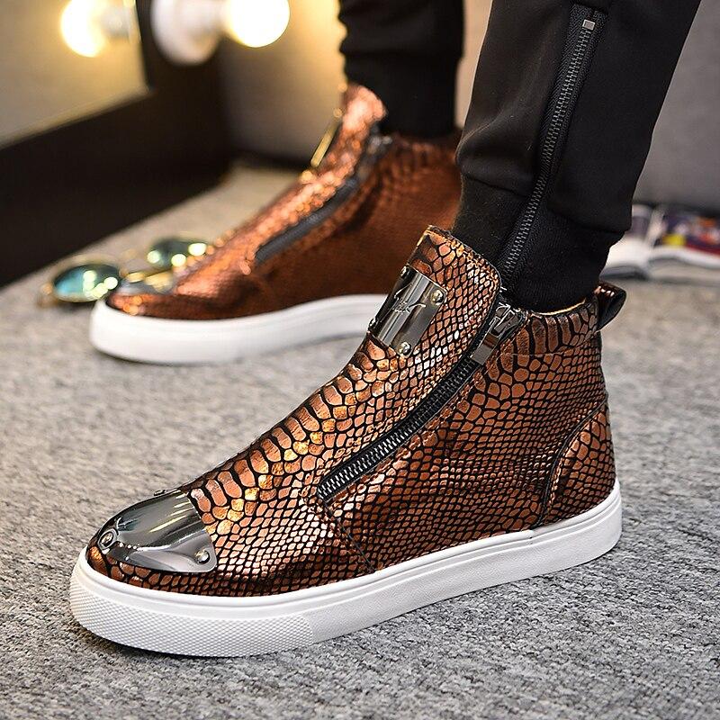 2019 hommes paillettes haut hommes or paillettes baskets Bling Zip plate-forme chaussures plates homme brillant argent mode chaussures vulcanisées