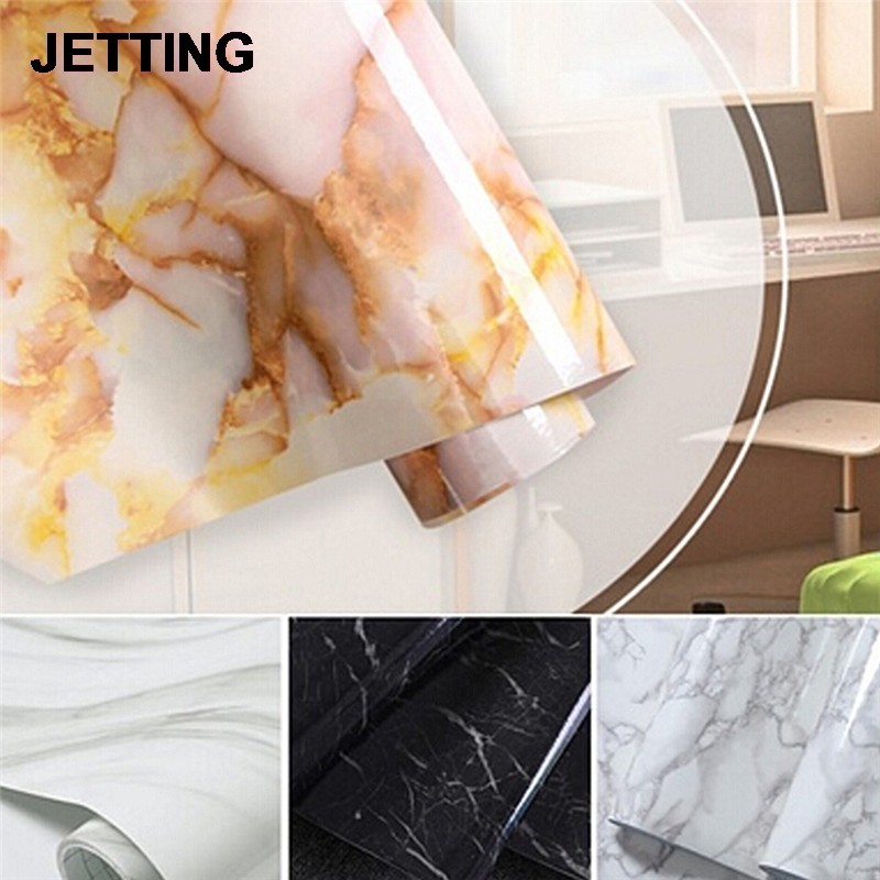 Jetting 50cm glossy marble diy vinyl decorative film kitchen cabinet countertop pvc self for 50cm kitchen cabinets
