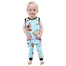 Newborn Toddler Baby Boy Girl Cartoon Pirate Print Zip Romper Jumpsuit Clothes baby girl summer romper One Pieces Jumpsuit(China)