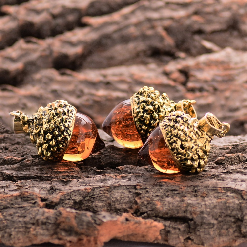 1piece Vintage Antique Bronze Silver Gold Color Water Drop Suspension Glass Acorn Oak Pendant Necklace For Women