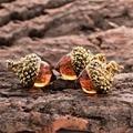 1piece Vintage Antique Bronze Silver Gold Plated Water Drop Suspension Glass Acorn Oak Pendant Necklace For Women