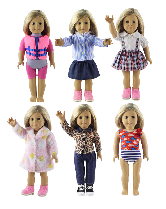 New Style Fashion 6 Set Doll Clothes for 18 Inch American Girl Handmade Casual Wear Clothes new style 10 set doll clothes for 18 inch american girl handmade casual wear