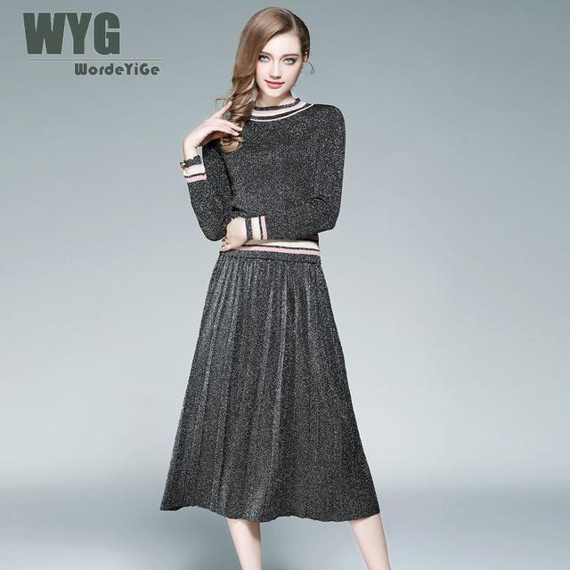 aa4697fae8 Women Casual Two Piece Skirt Suits 2017 Autumn New Arrival Striped Long  Sleeve Sparkle Pullovers + Pleated Midi Skirts Set WYG