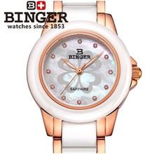 Швейцария Мода Бингер Цветочные Керамические Часы Женщины Relógio Feminino Кварцевые Часы Женские Наручные Часы Повседневная Наручные Часы