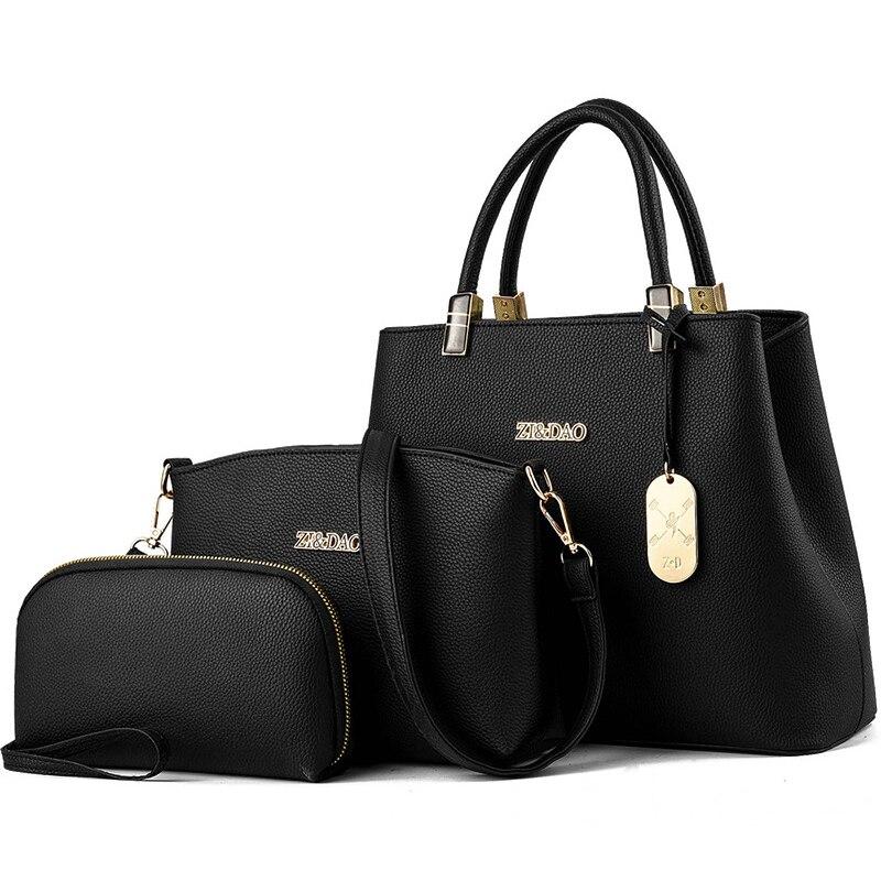 3 PCS Women Leather Handbags Composite Bag Large Shoulder Bag Female Messenger Bag Purse Office Ladies Tote Bags For Women 2018 1