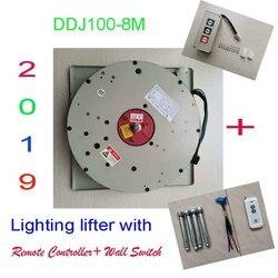 100 KG 8 M Drop Wand Schalter + Fernbedienung Kronleuchter Hoist Beleuchtung Heber Elektrische Winch Licht Hebe System 110 v-120 V, 220-240 V