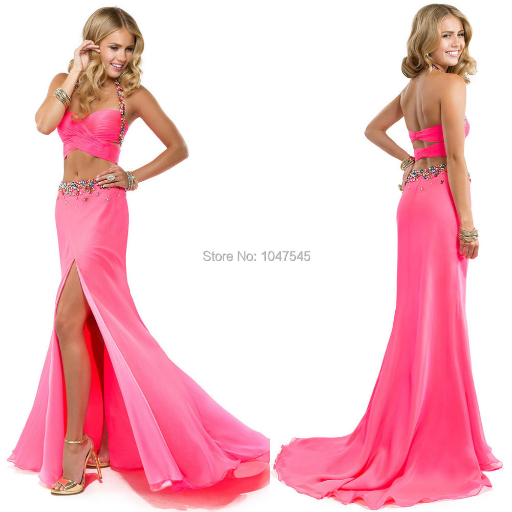 Two Piece Prom Dresses Halter Beaded Coral Color Slit Style Long ...