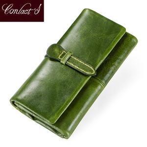 Image 1 - Genuine Leather Women Wallets Female Long Clutch Wallet Brand Money Bag For Ladies Zipper Coin Purse Portomonee Card Holder