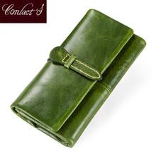 Portafogli da donna in vera pelle portafoglio da donna con frizione lunga borsa per soldi di marca per portamonete portamonee con cerniera da donna