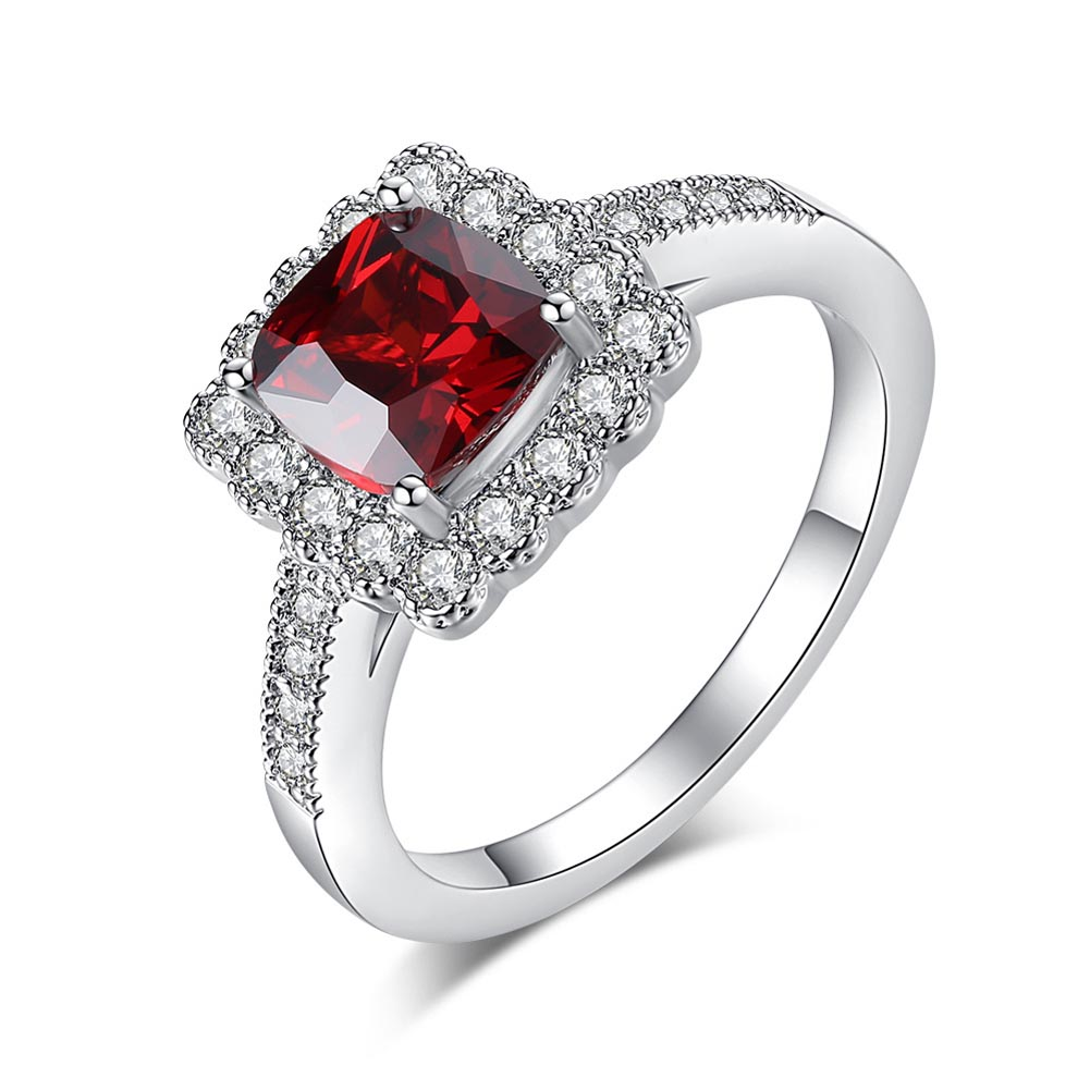 Women Lady Finger Ring Red Square Zircon Round Crystal Luxury Engagement Wedding Ring Jewelry @M23