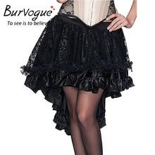 Burvogue Long Maxi Steampunk Elastic Skirts Women Black Fluffy Tulle Skirt Ruffled Chiffon Lace Midi Gothic Sexy Corset Skirt